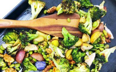 Edamame, Broccoli and Walnut Sheet Pan